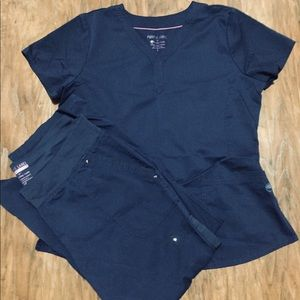 Navy scrubs large top large petite pants